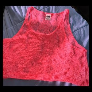 Victoria Secret Pink coral lace cropped tank top